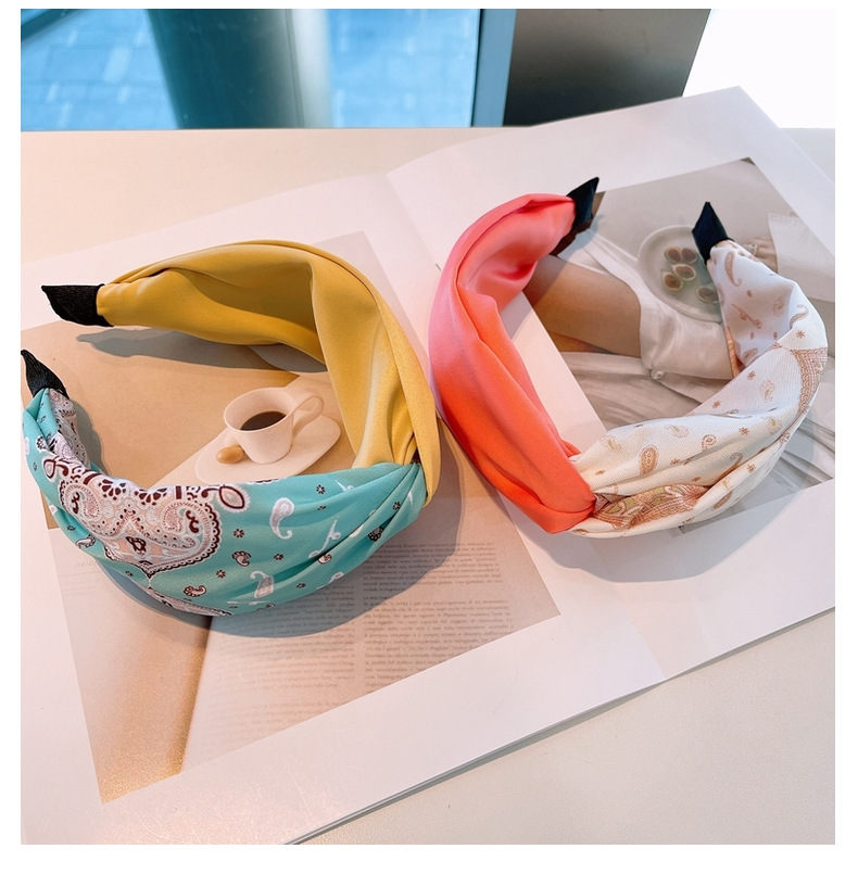 ethnic style color matching wide headband NHHD336089
