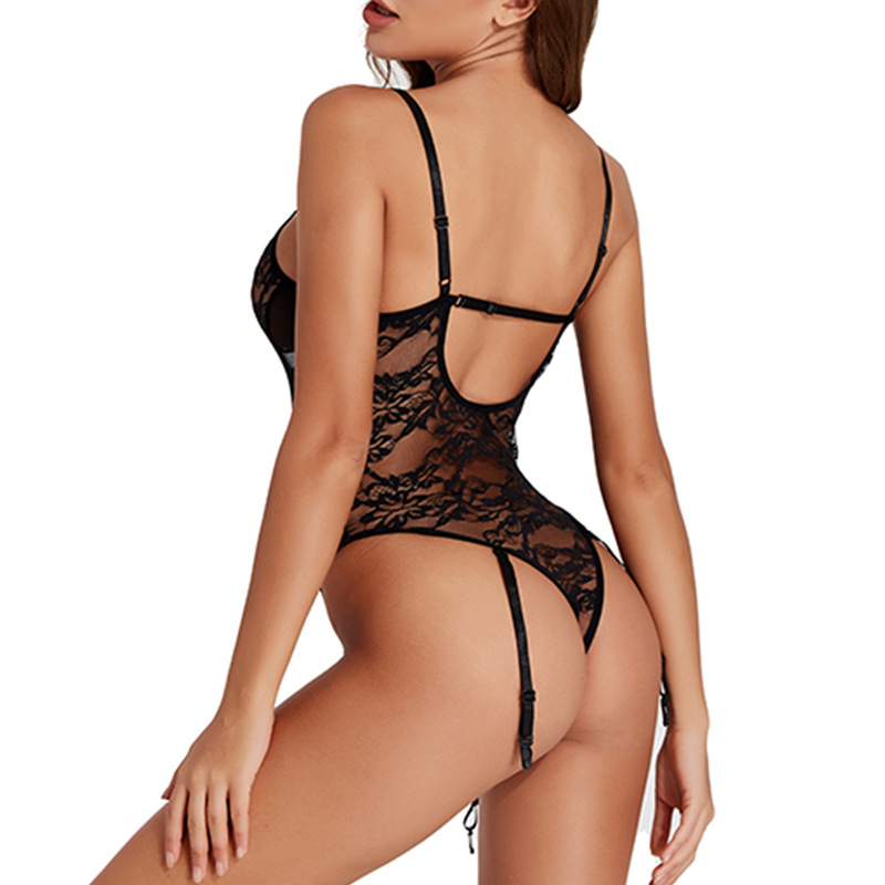 lace one-piece lingerie with garter belt nihaostyles clothing wholesale NSFCY83314