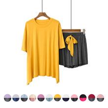 莫代尔睡衣女夏季2021年新款撞色短袖短裤夏天大码家居服两件套装