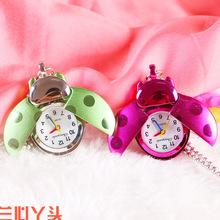新款七星瓢虫 甲壳虫项链表 卡通怀表挂表 儿童手表 时尚学生手表