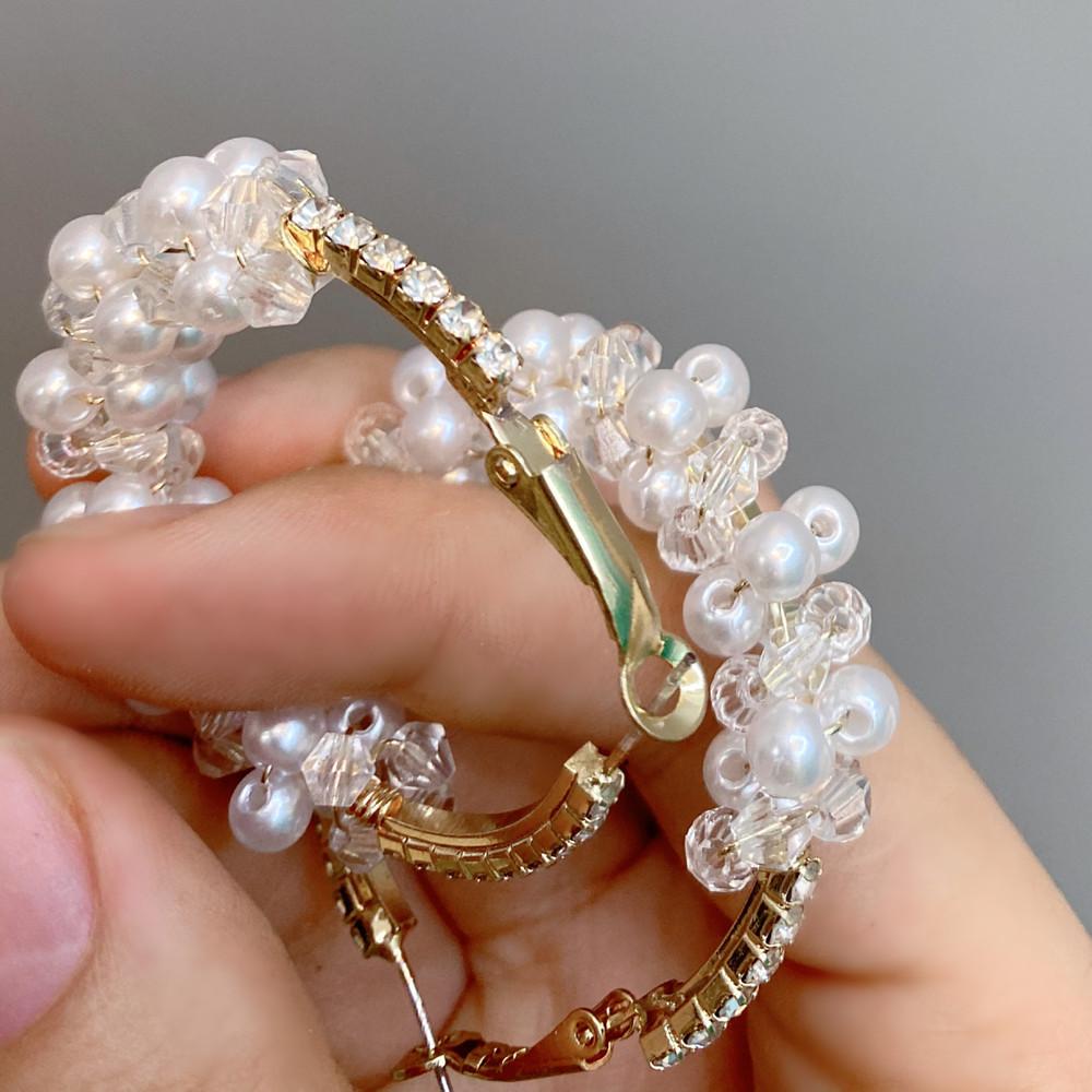 retro diamondstudded pearl large hoop earrings wholesale  NHFS372810
