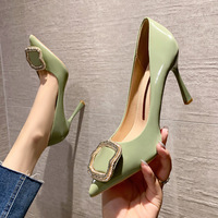 8777-7 han edition fashion pointed shallow mouth high-heeled shoes diamond square clasp heel shoes women's shoes web celebrity party