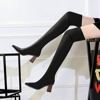 333-6 European and American fashion sexy nightclub show thin ladies boots wood with thick with high elastic leica knee-high boots