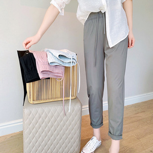 Summer new ice Tiansi small trousers women's high-quality temperament was thin and versatile nine-point pants high-waist ins old pants