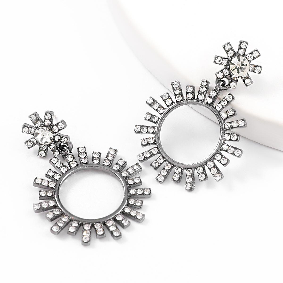 alloy diamond-studded acrylic flower earrings NHJE324958