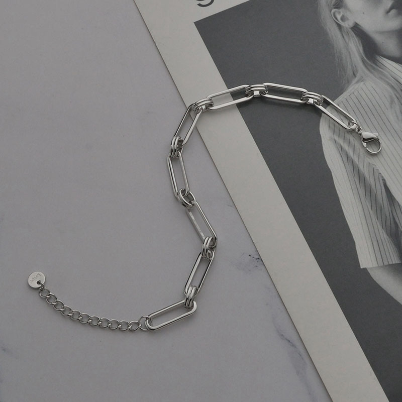 Fashion geometric thick chain titanium steel necklace NHHF336335