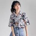 衬衫女设计感短袖新款2020年夏季薄款韩版宽松卡通印花上衣潮