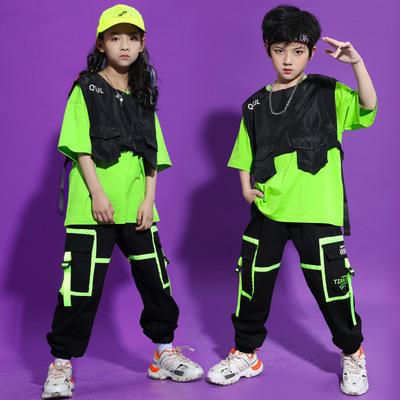 Children girls boy green with black jazz dance hip-hop costumes loose waistcoat street rapper gogo dancers suit model show wear