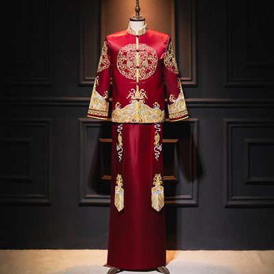 Men's show bride groom wedding dress Chinese style Dragon and phoenix tang suit gown for male Chinese wedding performance dragon dress