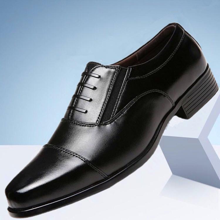 春秋新款正装三接头皮鞋套脚款男鞋商务休闲鞋三尖头男士系带皮鞋