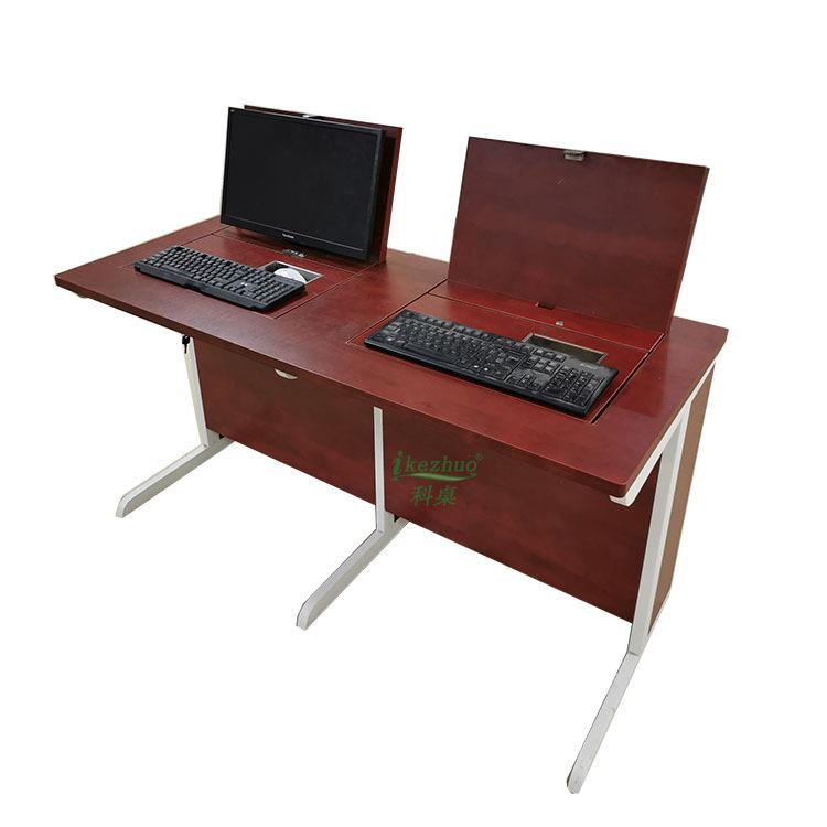 科桌新款 隐藏式翻转电脑桌 会议培训室翻盖桌 机房教室电脑桌