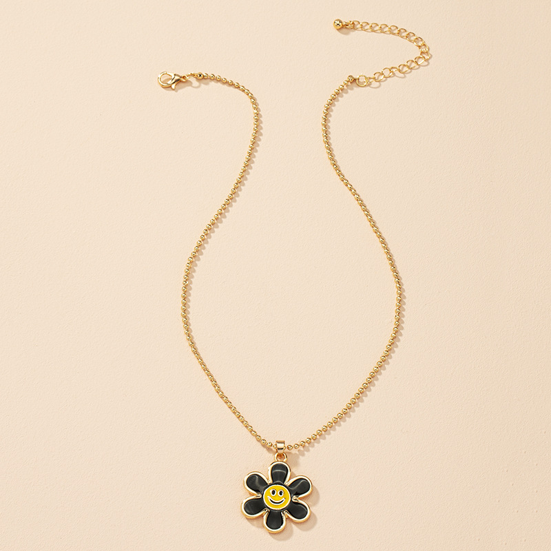 Fashion flower smiley alloy necklace wholesale NHAI330885