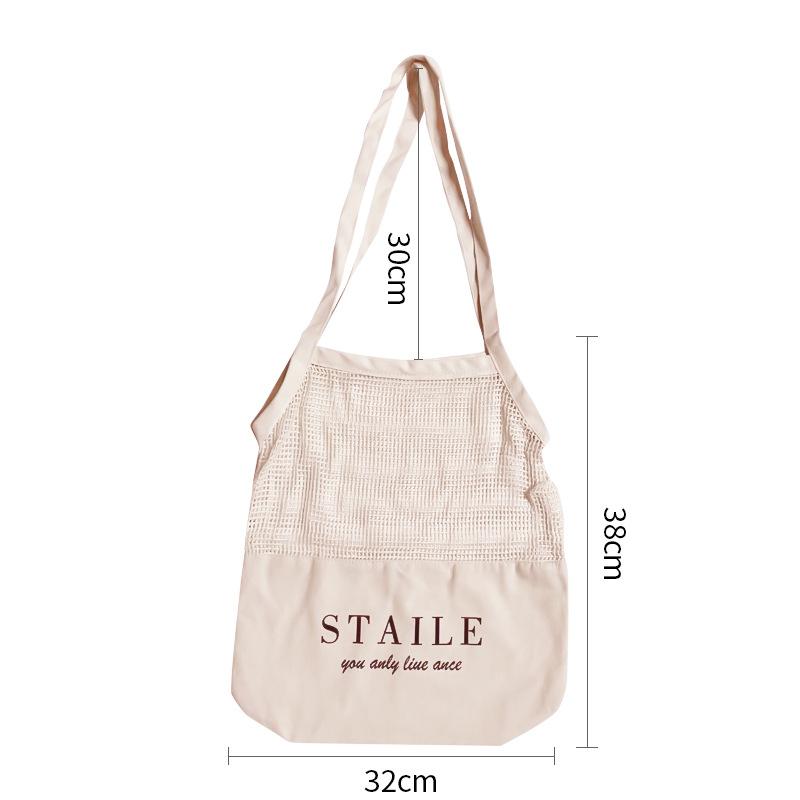 超市购物袋蔬菜水果涤纶网袋壁挂家用储物袋手提镂空挂袋可印logo