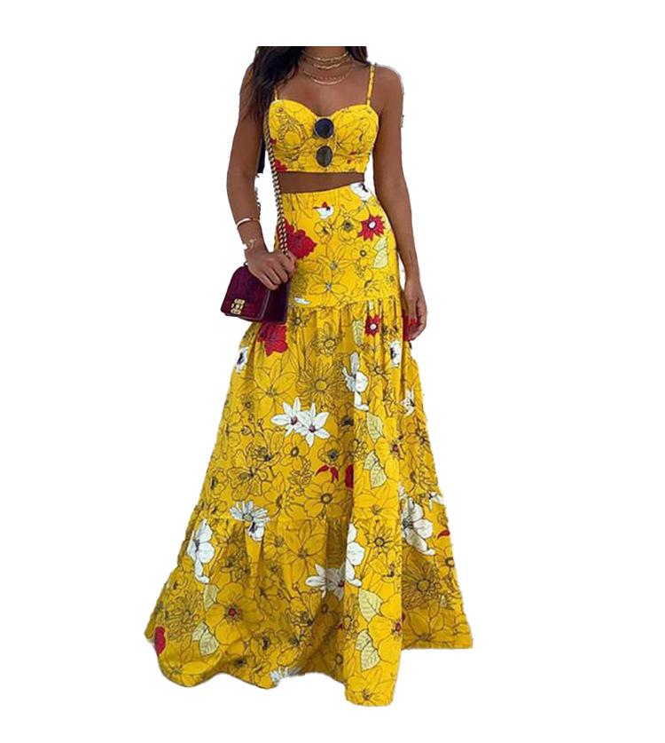 sexy high waist printed big swing long dress NSHHF53674