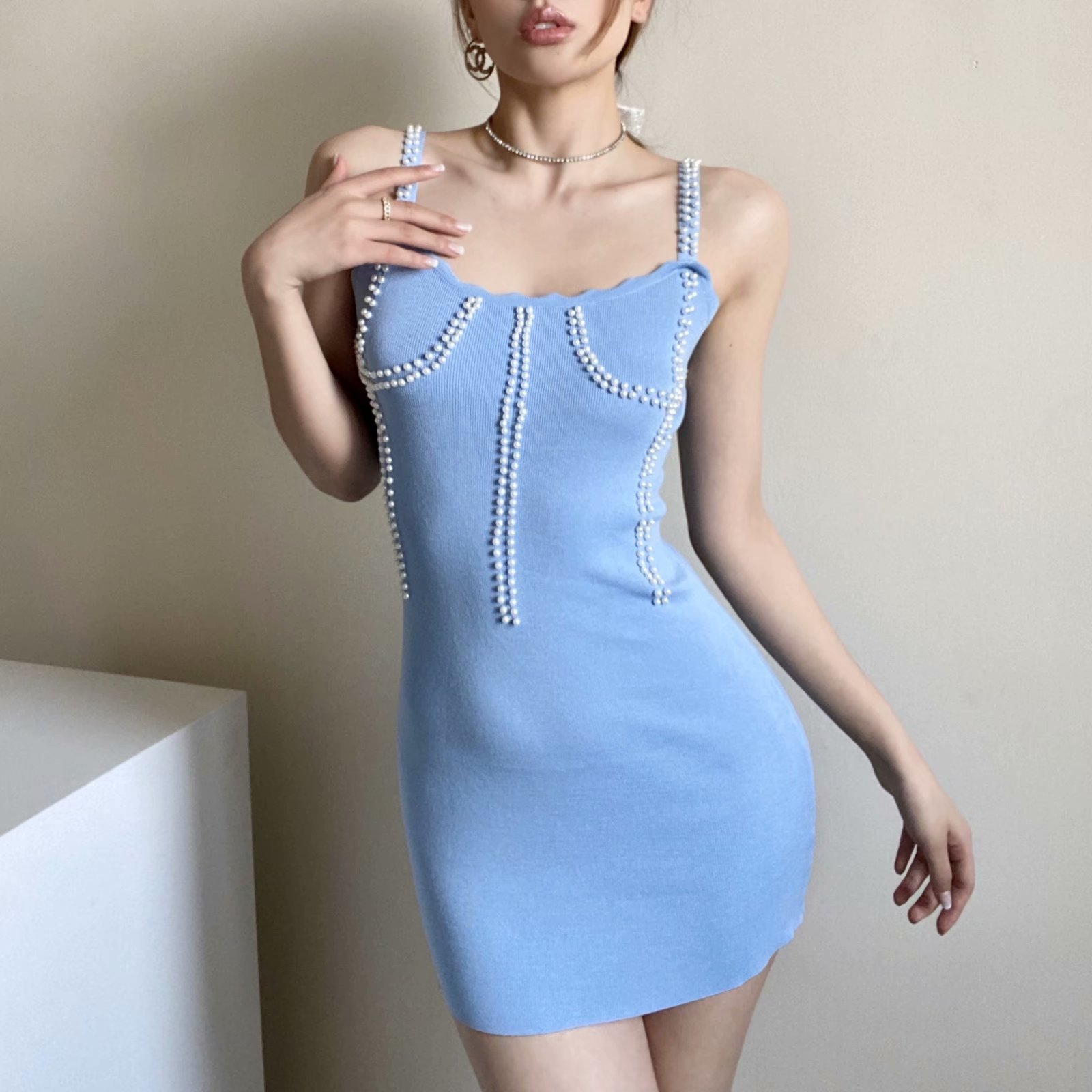 Fashion beaded sling knitted dress wholesale NHAM336138