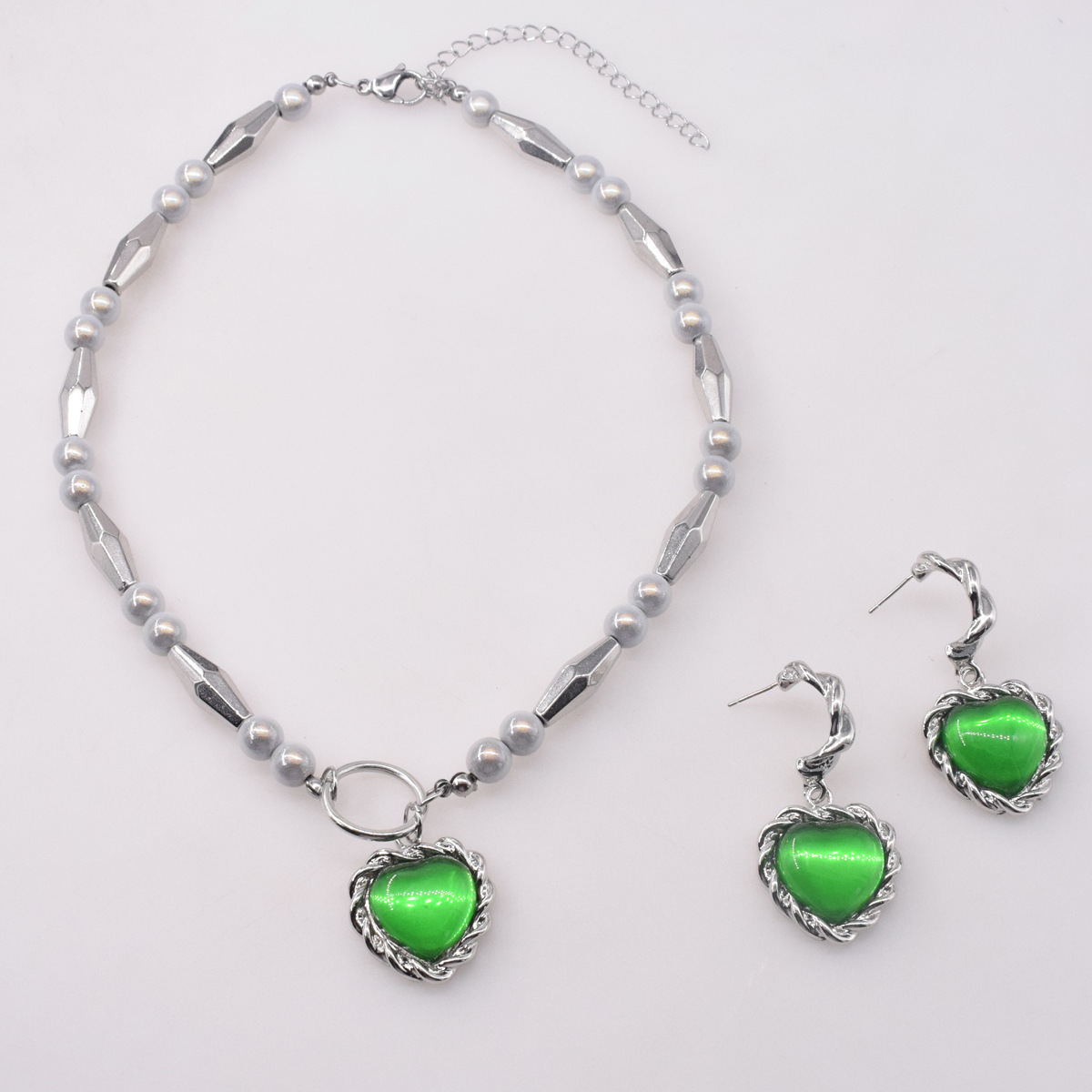 new splicing reflective pearl green heart pendent necklace earrings  NHNT367792