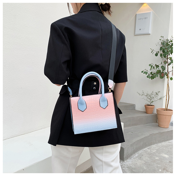 simple fashion style square contrast color single shoulder   NHXC354450