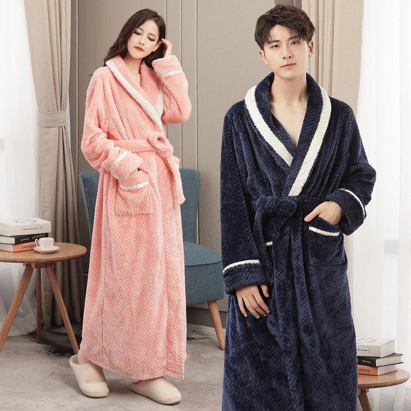 秋冬季情侣睡袍女士加厚法兰绒浴袍男士冬天加长款珊瑚绒睡衣长袍