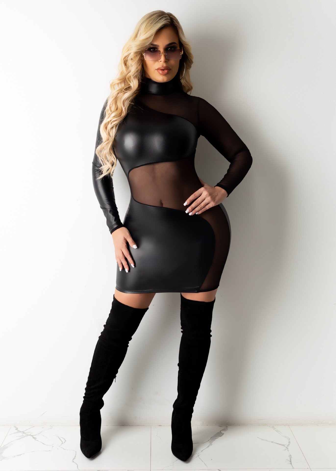 long-sleeved sexy mesh stitching leather dress NSME37075