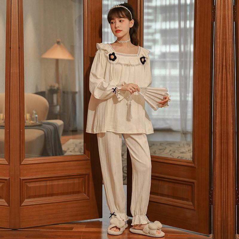 公主风睡衣女士秋季新款孕妇长袖长裤甜美可爱月子服休闲两件套