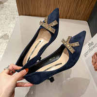 528-2 in Europe and the shallow mouth single shoes female spring new diamond point fine with bowknot women's high-heeled shoes wholesale