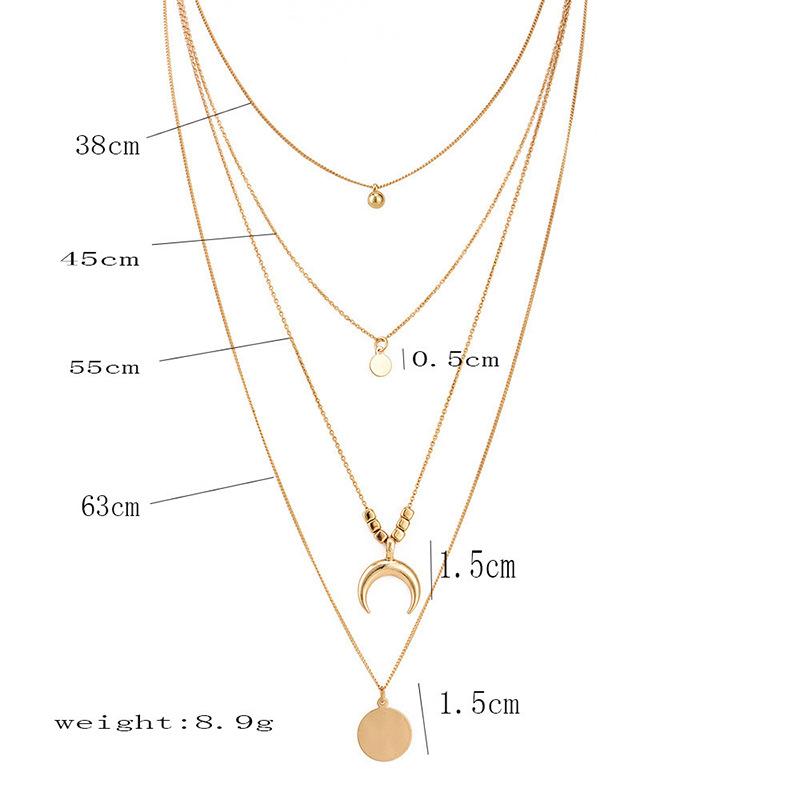 moon disc pendant multi-layer necklace NHPF301146