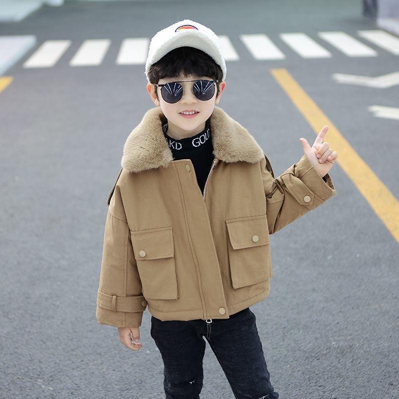 童装男童派克服2020新款儿童加绒外套秋冬中大童洋气大毛领棉衣冬