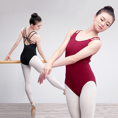 Professional ballet practice clothes Adult double sling coveralls Women's body training clothes Gym suit