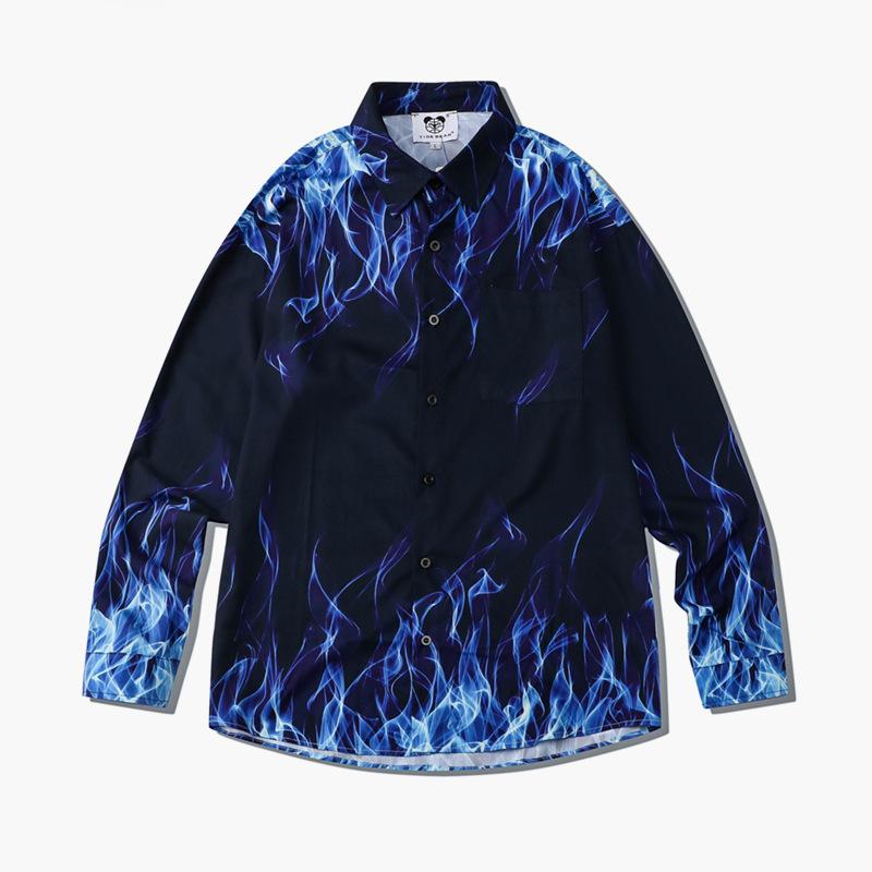 厂家代发潮牌宽松数码印花火焰青少年休闲衬衣薄款翻领长袖男衬衫