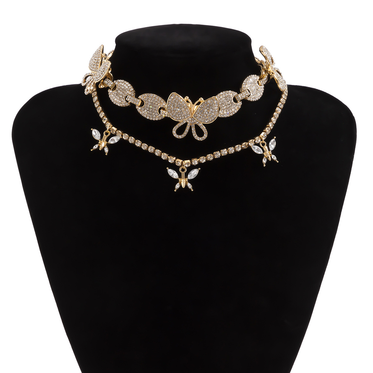 micro-inlaid diamond butterfly necklace NHXR316662