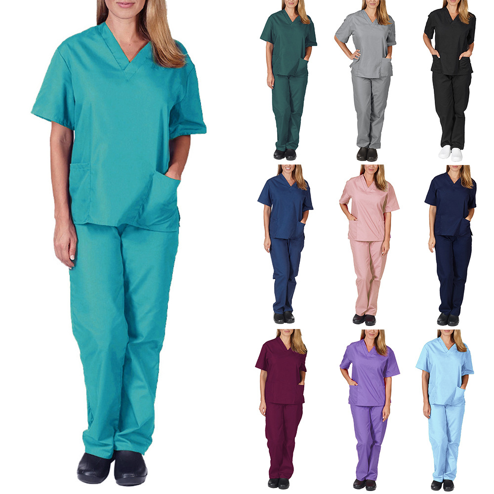 跨境亚马逊夏季V领薄款男医生手术服女护士工作服弹力速干套装
