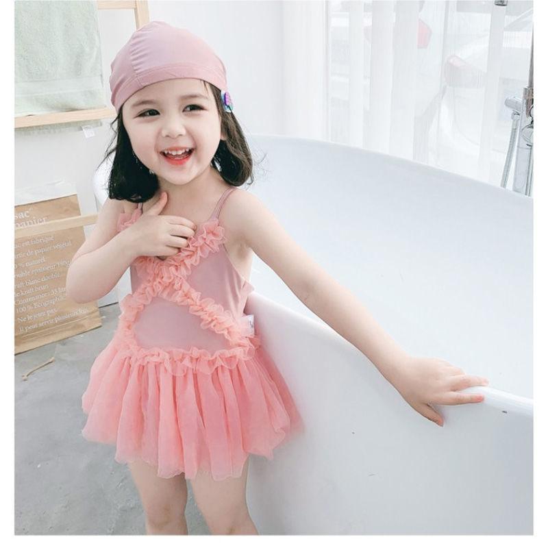 2021韩版儿童蕾丝公主温泉泳装宝宝洋气女童三角连体小女孩游泳衣