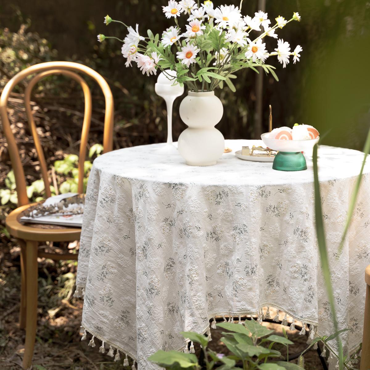 田园餐桌布 ins小清新丁香花碎花园棉麻台布艺美式茶几装饰野餐布