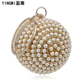 Factory wholesale Yingmi cross-border source pearl handbags ladies European and American fashion banquet bags spherical dinner bags