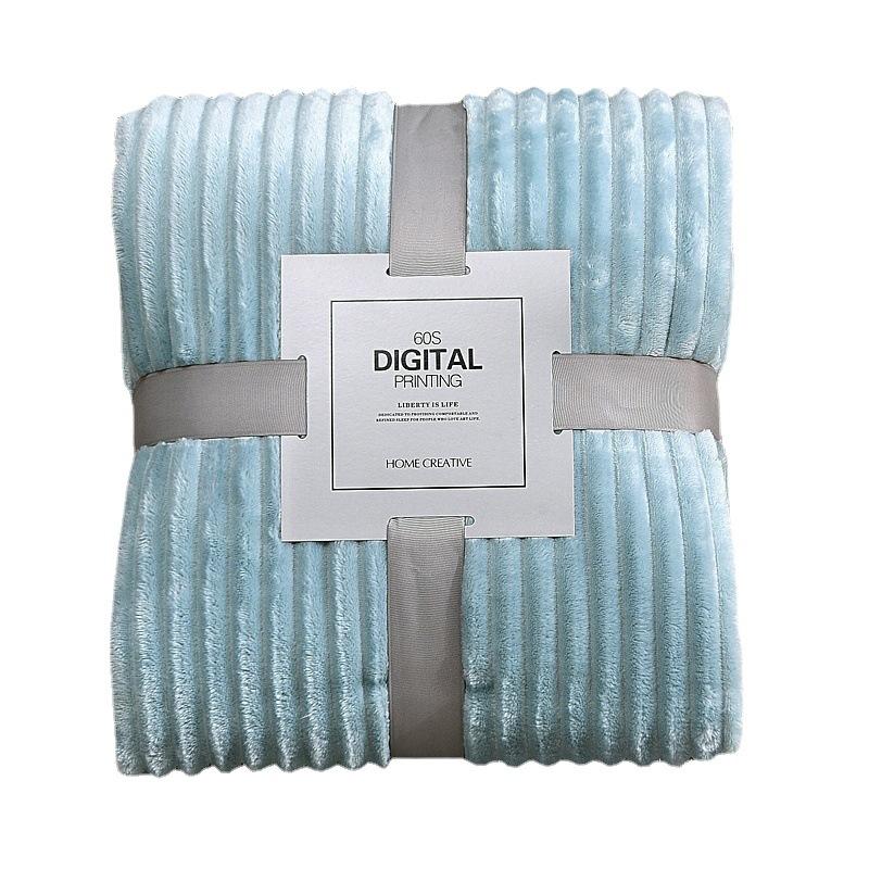 跨境专供纯色抽条毛毯法兰绒空调毯子礼品毛毯珊瑚绒瑜伽盖毯
