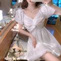 实拍夏季泡泡袖V领蝴蝶结光泽感花苞连衣裙名媛气质小礼服女J1813