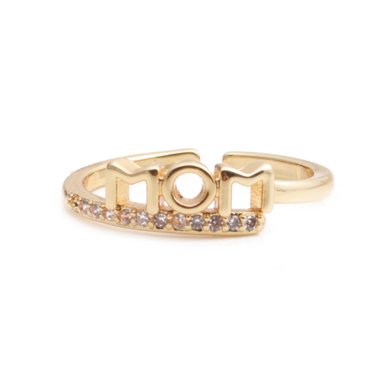fashion hollow heart letter MOM geometric copper inlaid zircon ring NHYL368199