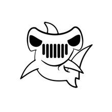 外贸卡通锤头鲨鱼贴纸趣味卡通雕刻镂空笔记本电脑门窗滑板墙贴纸
