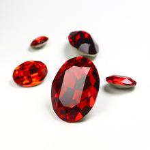 橢圓大紅色尖底鍍銀玻璃鉆  手機美甲貼鉆DIY飾品服飾配件
