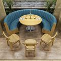 定制面馆食堂餐饮饭店西餐厅汉堡店靠墙弧形卡座沙发桌椅组合