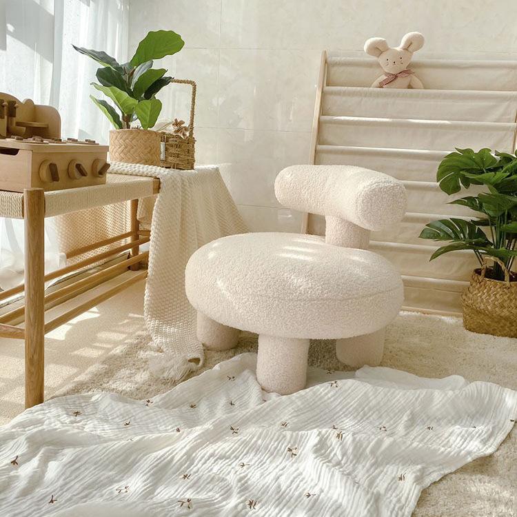 北欧羊羔绒单人沙发椅儿童可爱客厅懒人沙发小户型家用换鞋凳子