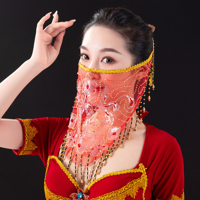 Belly dance bandage veil women Oriental dance face veil scarf Hanfu sequins tassel dustproof mask
