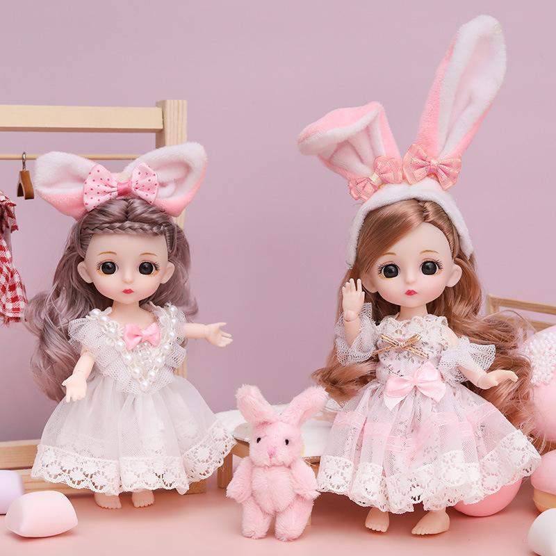 16厘米芭比芬丽娃娃公主女孩儿童玩具迷你小号洋娃娃地摊散装抖音