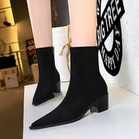 009-11 European and American fashion simple knight boots boots sexy nightclub show thin thick with high with pointed suede short boots