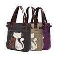 外贸绒钻帆布包女士猫咪单肩包手拎包书上班收纳手提包购物袋定制