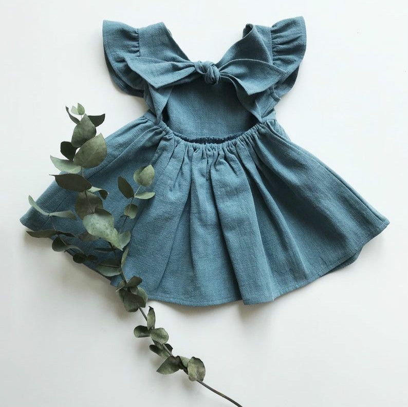 European and American New Girls Dresses Cotton and Linen Solid Color Back Bow Princess Dress