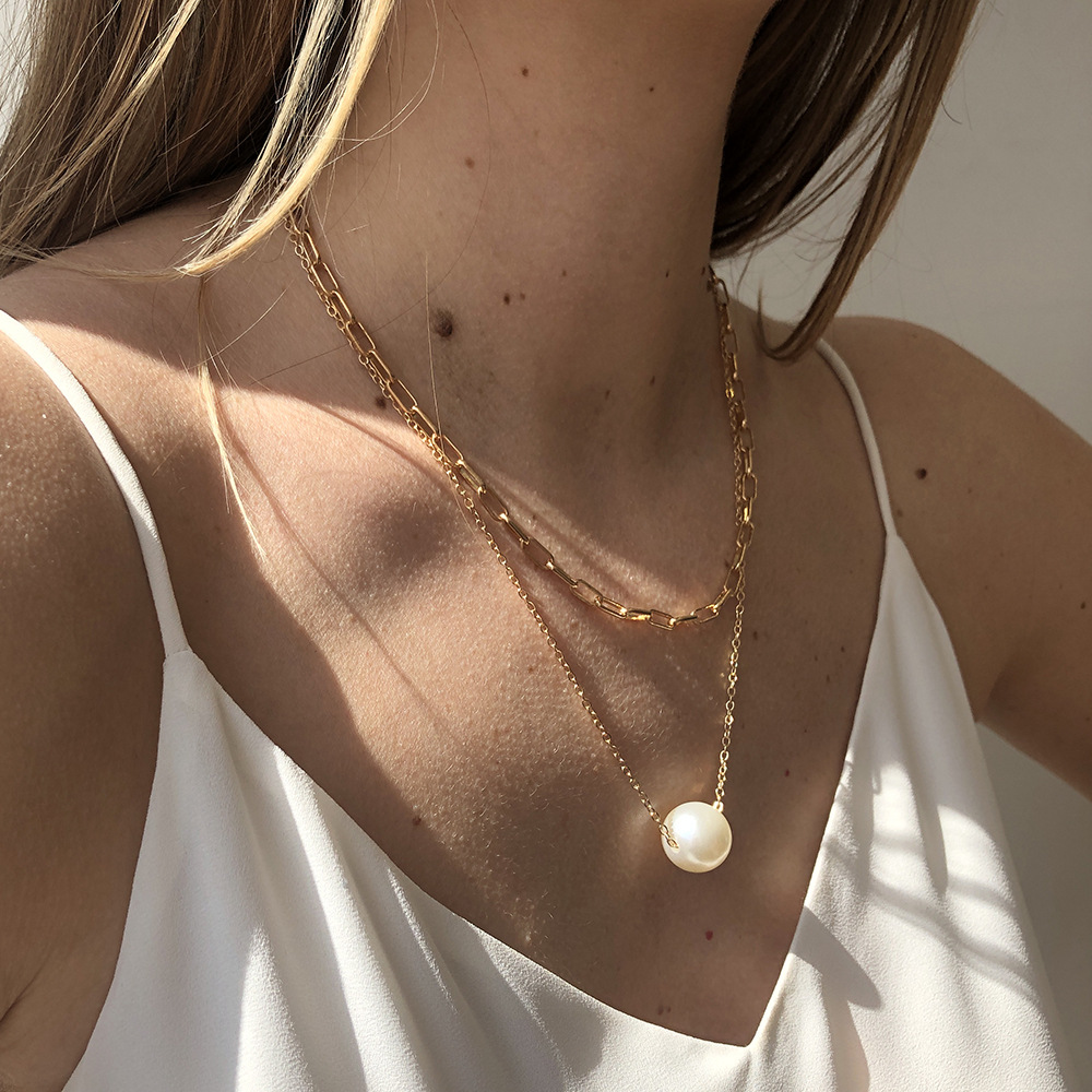 Fashion imitation pearl double chain necklace NHMD336326