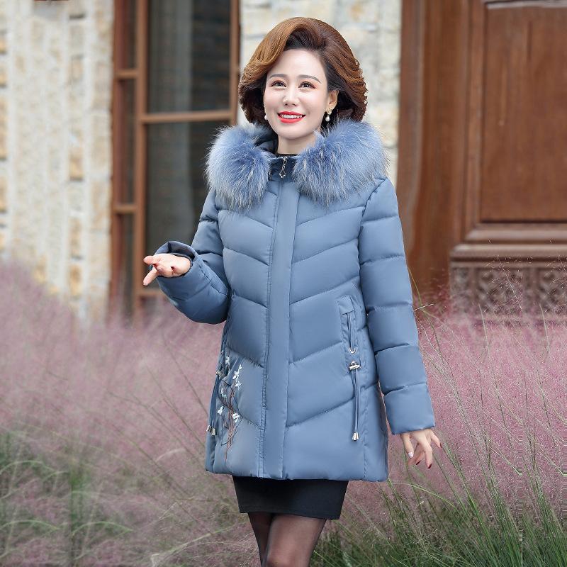 中老年妈妈冬装外套女棉衣洋气加绒加厚棉袄40岁羽绒棉服大码女装