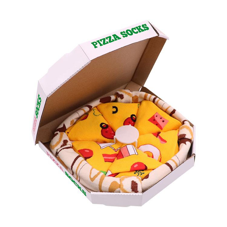 披萨袜现货pizza盒棉质中筒运动袜亚马欧美逊篮球袜创意时尚礼物