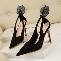 928-19 European and American wind fashion high heels for women's shoes high heel with shallow mouth party pointed rabbit ear diamond single shoes